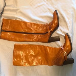 Bruno Magli honey caramel ladies heeled boots